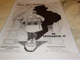 ANCIENNE PUBLICITE UN CRYPTADYNE DE RADIO INDUSTRIE 1927 - Autres