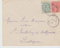 ETEL: LSI De 1905 Affranchie Au Tarif Pour St Barthélémy De Bellegarde - Postmark Collection (Covers)