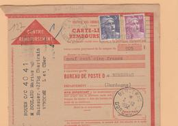 VENDOME: Carte Lettre CONTRE REMBOURSEMENT De 1952 Affranchie Au Tarif Pour  Bergerac - Marcofilie (Brieven)