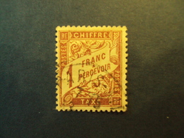 """1859-55 - TAXES - Type Duval,  Oblitéré   N° 40   I   """"   1f Lilas Sur Paille""""     Net  0.50  Photo 2 - Portomarken"""