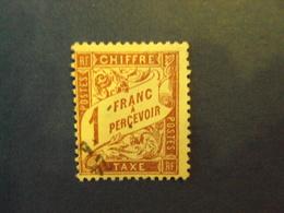 """1859-55 - TAXES - Type Duval,  Oblitéré   N° 40   I   """"   1f Lilas Sur Paille Jaune""""     Net  0.50  Photo  3 - Portomarken"""