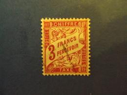 "1859-55 - TAXES - Type Duval,  Oblitéré   N° 42 A  ""   3f Rose     Net  1 - Portomarken"