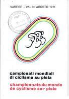CARTOLINA CAMPIONATI MONDIALI CICLISMO - VARESE 25/31 AGOSTO 1971 - VIAGGIATA - Italia