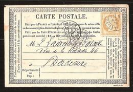 France YT 55 Précurseur CP Série Avril 1876 Posté à Royan Charente Pour Bordeaux  Cachets Type 18 Et 17 - 1871-1875 Cérès
