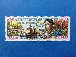 1991 ITALIA CELEBRAZIONI COLOMBIANE CRISTOFARO COLOMBO DITTICO FRANCOBOLLO USATO ITALY STAMPS USED - 1946-.. Republiek