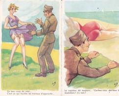Illust. A.B.Lot 2 Cpsm  9x14 . GAULOISERIES MILITARIA : 1/ Cachez-vous Derrière Les Mamelons 2/ Un Bon Coup De Vent ... - Humor