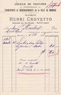 98000 Monte Carlo MONACO Henri Crovetto Location D'un Landeau à Menton Pour Maubert à Monte Carlo 1908 - Autres