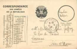 CARTE F.M - VOYAGE LE 20.12.1914 - GUERRE 14/18 - Cartes De Franchise Militaire