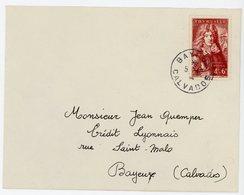 CALVADOS ENV 1944 BAYEUX SURTAXE SEUL SUR LETTRE - Poststempel (Briefe)