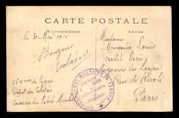 CACHET DU DEPOT D'ECLOPES ET CONVALESCENTS DE MIRIBEL (CASERNE) - GOUVERNEMENT MILITAIRE DE VERDUN (MEUSE) - Marcophilie (Lettres)