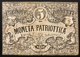 Venezia 5 Lire Moneta Patriottica 1848 Firma Barzilai  LOTTO 3089 - [ 4] Emisiones Provisionales