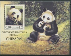 Cuba 1999 China Stamp Exhibition EXPO Philatelic Exhibitions Panda Endangered Animals Pandas Mammals Nature S/S MNH - Cuba