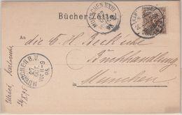 DR - 3 Pfg. K/A, Bücherzettel Karlsruhe - München 1895 - Briefe U. Dokumente