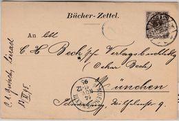 DR - 3 Pfg. K/A, Bücherzettel Lörrach - München 1895 - Briefe U. Dokumente