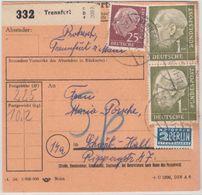 BRD - 2x1 M. + 25 Pfg. Heuss Paketkarte/Sperrgut Trennfurt Schwäbisch Hall 1955 - BRD