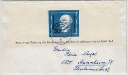 BRD - 50 Pfg. Adenauer Obere Blockhälfte Brief Berlin - Mannheim 1969 - Briefe U. Dokumente