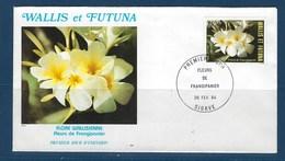 """Wallis FDC Aerien YT 134 (PA) """" Fleur """" Enveloppe Du 26.2.1984 - FDC"""