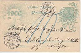 DR - 5 Pfg. Germania Jahrhundert Ganzsache Schandau - Altenburg 1904 Nachporto - Germany