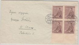 Böhmen & Mähren - 30 H. Geb. AH 4er-Block Unterrand Brief Litentschitz 1942 - Ocupación 1938 – 45