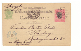 Entier Postal Bresil 1905 Cachet Sao Paulo Pour Hamburg Cachet Bleu Laue & Troschel - Postwaardestukken