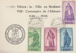 Carte  BELGIQUE  VIIIéme  Centenaire  De   L' ABBAYE  De   VILLERS  LA  VILLE   1946 - Cartes Souvenir