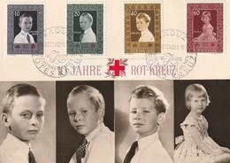 CARTE MAXIMUM - LIECHTENSTEIN - N°300/3 (1955) CROIX ROUGE - Maximumkarten (MC)