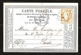 France YT 55 Précurseur CP Série Avril 1876 Posté à Valenciennes Losange 4078 Pour Paris Cachet Type 17 - 1871-1875 Cérès