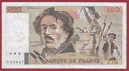 """100 Francs""""Delacroix"""" 1989----F/TTB+---ALPH.C.146---AUCUN TROU D EPINGLE - 1962-1997 ''Francs''"""