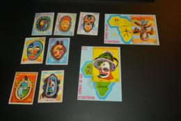 K29019 - Set And Blocs  Used  Guinea Ecuatorial -  Masks - Culturen