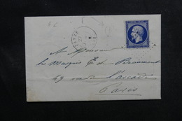 FRANCE - Enveloppe De Janzé Pour Paris En 1858, Affranchissement Type Napoléon PC 1570, Cachet De Facteur E - L 49977 - Marcofilia (sobres)