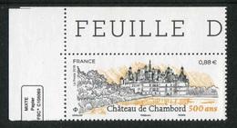 """TIMBRE** Gommé De 2019 En Coin De Feuille  """"0,88 € - CHÂTEAU DE CHAMBORD"""" - France"""