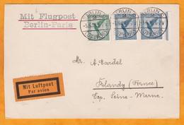 1926 - Enveloppe Par Avion Précurseur De Berlin, Allemagne à Blandy, France Par Ligne Berlin - Paris - Germany
