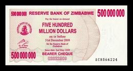 Zimbabwe 500000000 Million Dollars 2008 Pick 60 Serie AC SC UNC - Zimbabwe