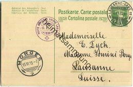 Aviation Militaire Suisse - Poste Aerienne - Lausanne-Morges Am 15.VI.1913 - Interi Postali
