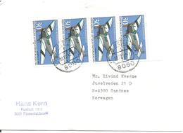 Germany 1991 Plane Aircraft Junkers F 13 (1930). Mi 1522 X 4 In Strip, Cancelled Fürstenfeldbruck 30.12.92 - Storia Postale