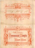 Superbe Rare CAFE CORAZZA RESTAURANT DONIX PALAIS ROYAL Menu Du 16 NOVEMBRE 1892 - Menus
