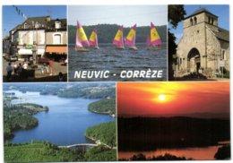 Neuvic - Corrèze - La Place - L'eglise - La Plage Sur Le Lac Du Barrage De Neuvic D'ussel - Frankreich