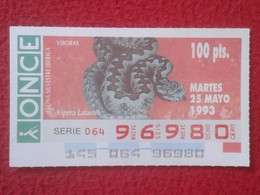 CUPÓN DE ONCE LOTTERY SPAIN LOTERÍA 93 FAUNA IBÉRICA FAUNE VÍBORAS VIPERA LATASTEI VÍBORA HOCICUDA LATASTE SNAKE VIPÈRE - Lotterielose