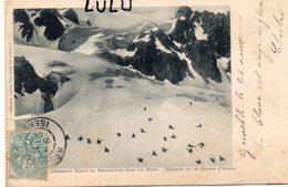 MILITARIA 436 : Précurseur : Chasseurs Alpins En Manœuvres Dans Les Alpes , Glissade Sur Le Glacier D Arsine - Manovre