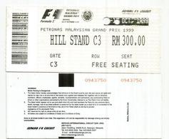 MALAYSIA.SEPANG F1  MALAYSIAN GRAND PRIX TICKET. HILL STAND C3 - Automobile - F1