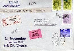 Aangetekende Brief Nmet Aangegeven Waarde  Van Woerden Naar Amsterdam - Periodo 1980 - ... (Beatrix)
