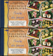 POLYNESIE Carnets ** - Maury 5/5A, Les 2 Carnets Tourisme 1999, 1200f Et 1020f: Fruits Du Fenua - Cote: 165 - Polynésie Française