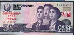 KOREA NORTH NLP 50 WON 2018 70TH ANNIVERSARY  Issued 2019 UNC. - Corea Del Nord