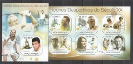 BC1014 2011 MOZAMBIQUE MOCAMBIQUE FAMOUS PEOPLE SPORTS ATHLETES OF XX CENTURY 1KB+1BL MNH - Timbres