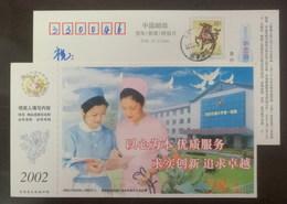 Doctor & Nurse,Stethoscope,China 2002 Xian Transport University No.1 Hospital Advertising Pre-stamped Card - Medicine