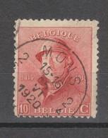 COB 168 Oblitération Centrale MONS 2 - 1919-1920 Albert Met Helm