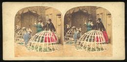 Tinted Stereoview - Crinoline - Victorian Genre - Stereoscopi