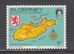 Alderney 1983 - Map Of Alderney, Coat Of Arms, Mi-Nr. 1, MNH** - Alderney