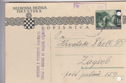 CROATIA   --  NDH  --  DOPISNICA  --  GARESNICA Nach HRVATSKI SHELL D. D.  ZAGREB  --  1943 - Kroatien