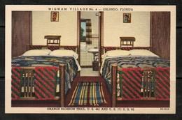"U.S.A.  ""CT ART COLORTONE"" LINEN VINTAGE POSTCARD WIGWAM VILLAGE #4 ORANGE BLOSSOM TRAIL (PC-13) - Orlando"